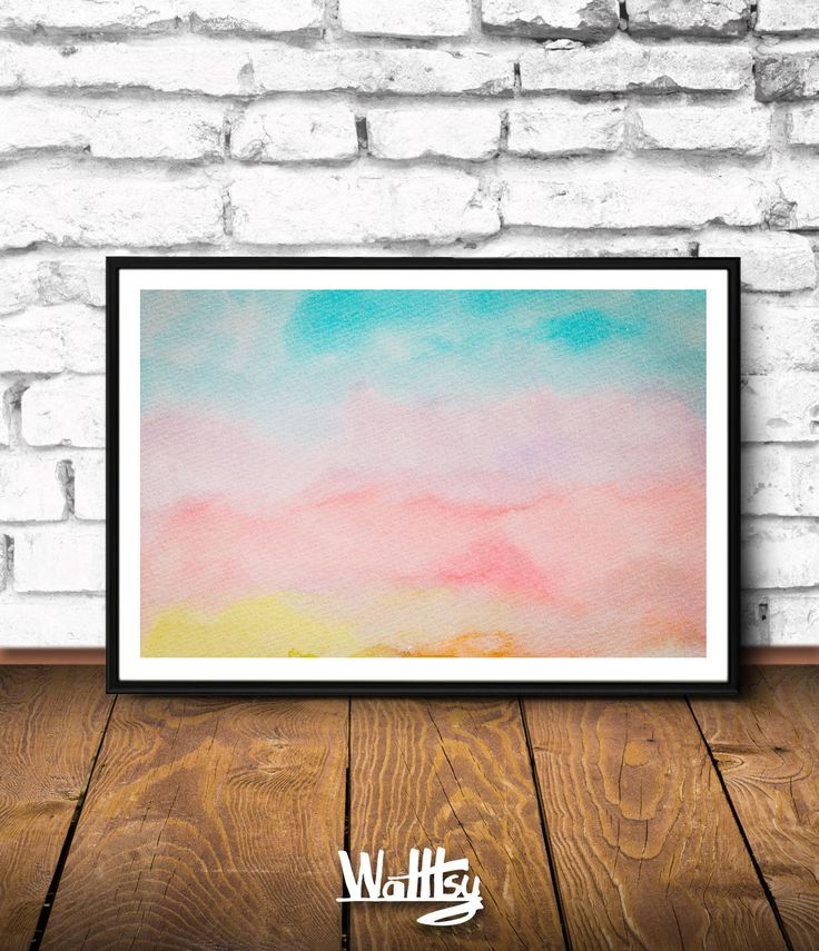 Aquarelle Painting, Watercolor Print, Blue And Orange Wall Art, Large Abstract Painting, Nursery Wall Art, Blue Sky, Insta Download Artprint by Walltsy on Etsy https://www.etsy.com/listing/495745906/aquarelle-painting-watercolor-print-blue