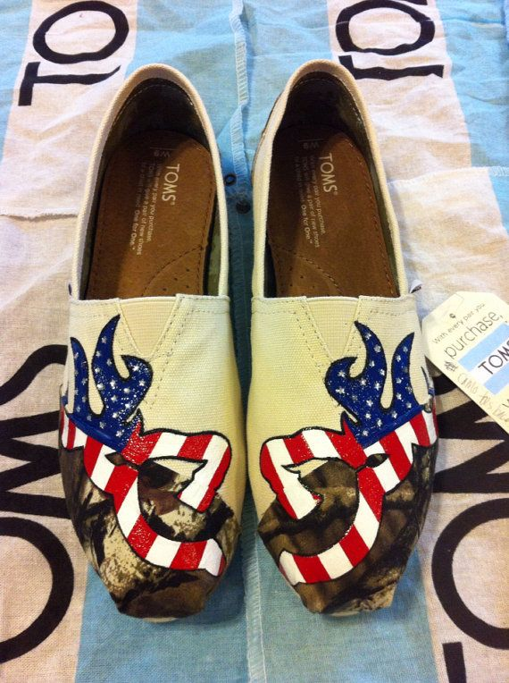 Custom Hand Painted Flag Camo Toms by BekasBargains on Etsy