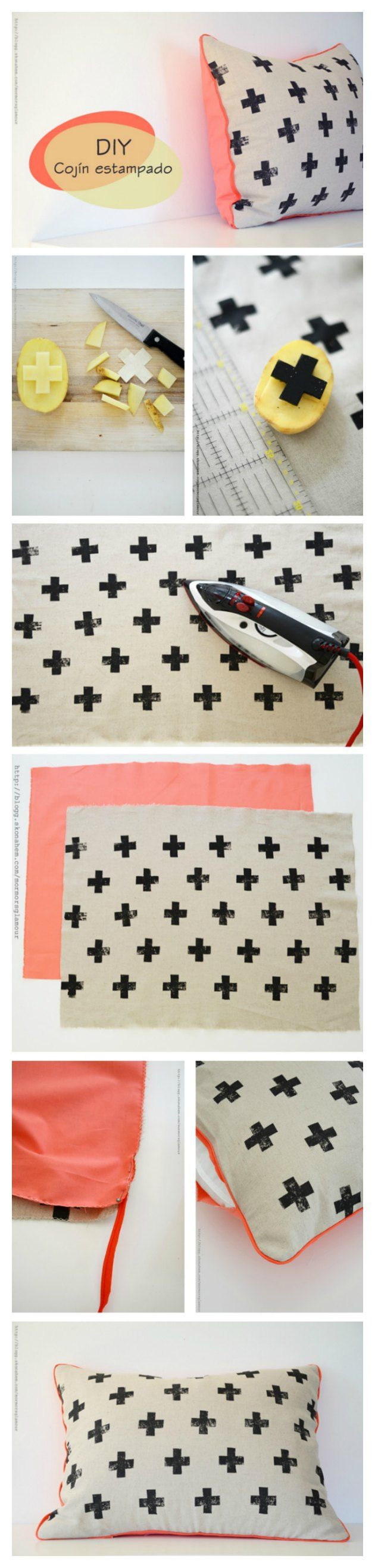 Fun Dollar Store Crafts for Teens - DIY Potato Stamped Pillow - Cheap and Easy DIY Ideas for Teenagers to Make for Dollar Stores - Inexpensive Gifts and Room Decor for Tweens, Boys and Girls - Awesome Step by Step Tutorials with Instructions for Cool DIY Projects http://diyprojectsforteens.com/dollar-store-crafts-teens