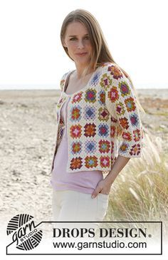 "Free Pattern  Summer patchwork by DROPS Design Crochet DROPS jacket with ¾ sleeves and granny squares in ""Alpaca"". Size: S - XXXL"