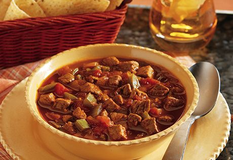 Ready in under an hour, you can spoon up lots of flavor in this hearty chili featuring cubes of beef simmered inbeefbrothand picante sauce. Top it your way with Cheddar cheese, green onions or salsa.