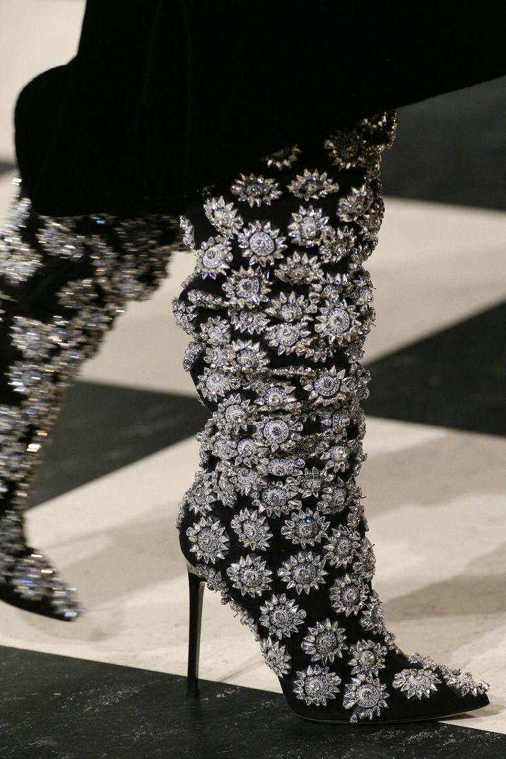 Oscar de la Renta | The debut collection by Fernando Garcia and Laura Kim at Oscar de la Renta was topped off by amazing crystal embellished boots: a new proposition for evening footwear. - HarpersBAZAAR.com