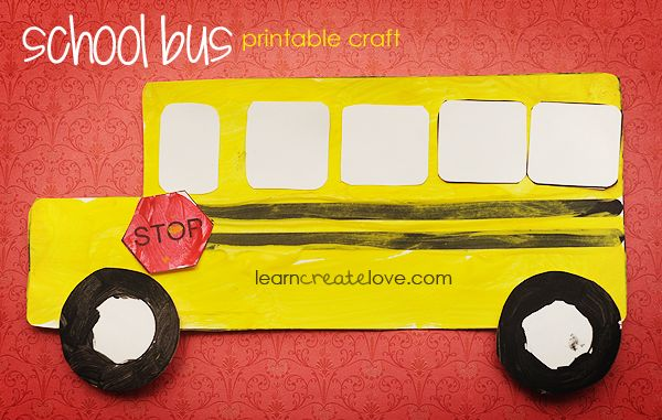 back to school crafts for preschooler | Printable School Bus Craft }