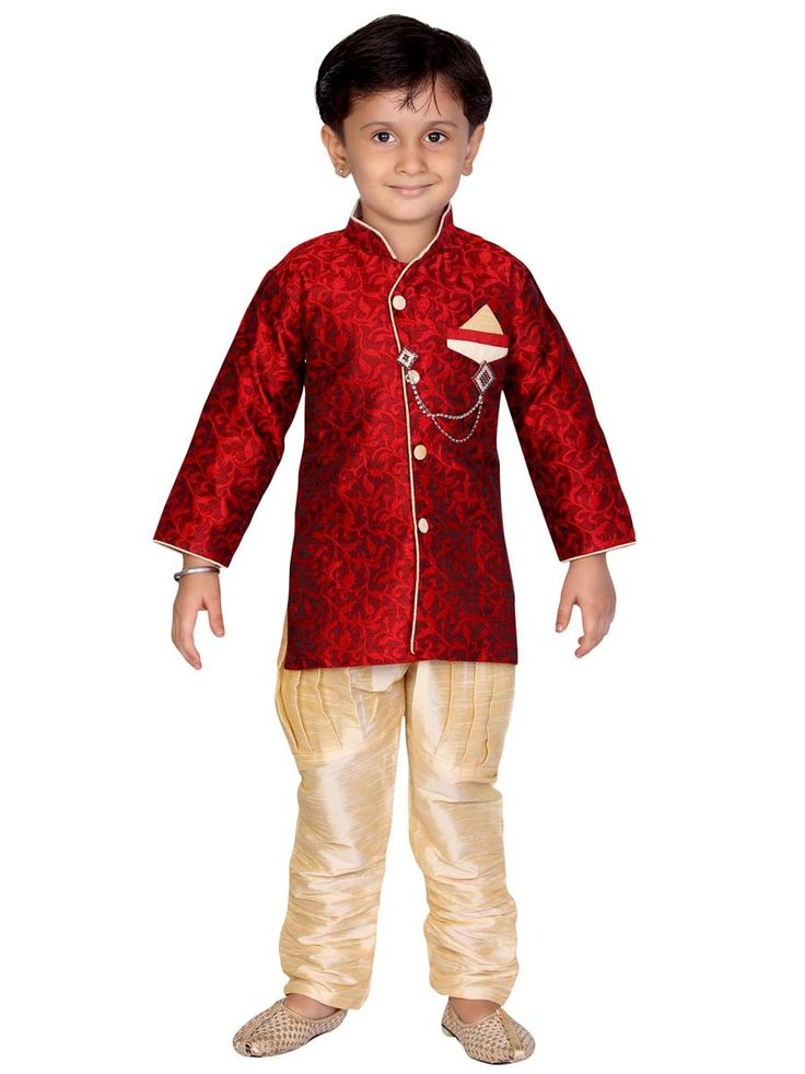 Fashioned from art silk brocade fabric, this regular-fit set includes a cream color breeches pant. Item Code: KDEW105B http://www.bharatplaza.com/new-arrivals/kids-wear.html