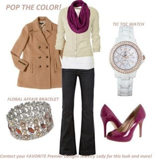 Pop of purple: Toc Watches, First Jewelry Design, Color, Cute Outfits, Floral Affair, Premier Jewelry, First Designs, Designs Jewelry, Cute Teaching Outfits
