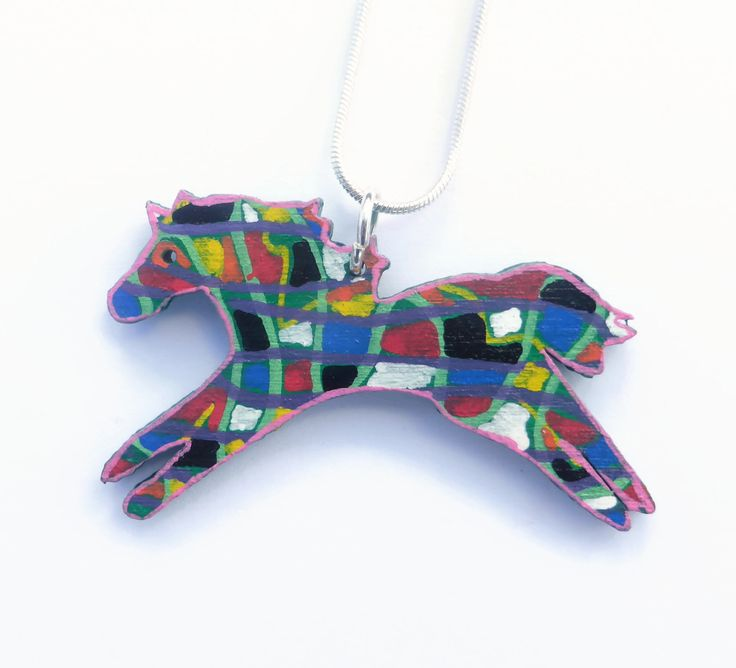 Horse Lover Gift, Horse Necklace For Women, Running Horse, Hand Painted Pendant, Horse Necklace, Horse Jewelry, Equestrian Jewelry by Larryware on Etsy