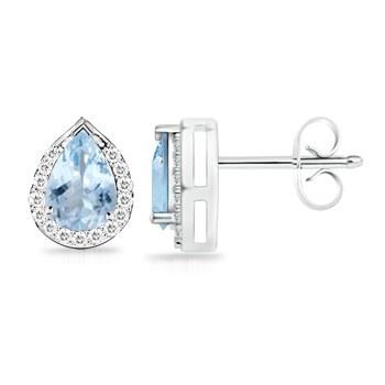 Angara Aquamarine and Diamond Stud Earrings in White Gold PuIWF