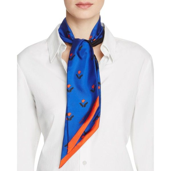 Marc Jacobs Silk Tulip Bandeau Bandana Scarf featuring polyvore, women's fashion, accessories, scarves, bright blue multi, bandana scarves, marc jacobs, marc jacobs scarves, silk handkerchief and silk scarves