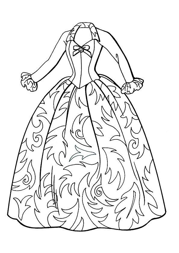 Style A Dress Coloring Woman Dresses Line