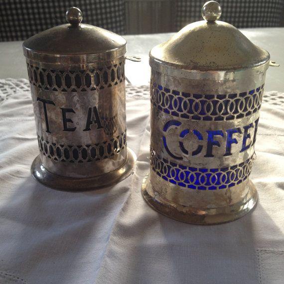 Argento lattine insieme per caffè e tè Royal Blue
