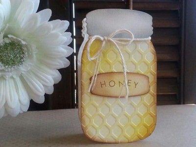 Honey jar card. so now it is worth getting that embossing folder!