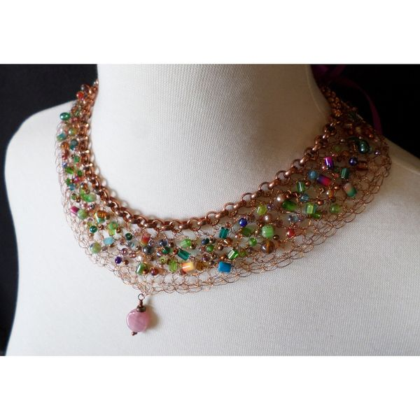 Hand crocheted wire necklace with beadwork - celeste $149 by String Theory Designs