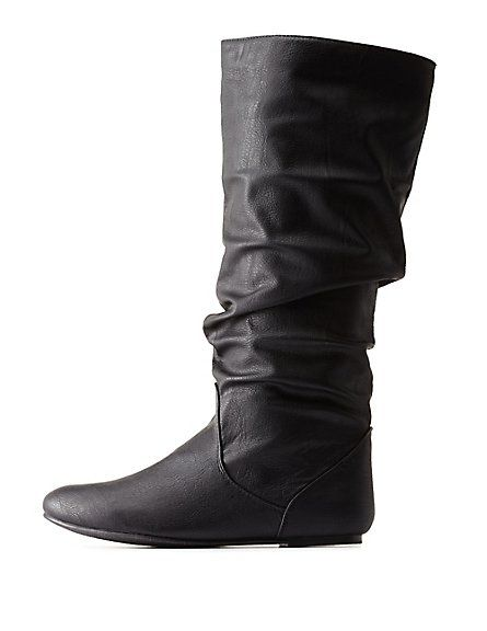 Slouchy Flat Knee-High Boots #slouchyboots #kneehigh bought these