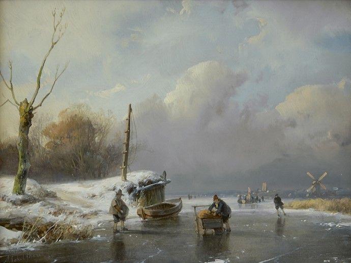 Andreas 'Andries' Schelfhout (Den Haag 1787-1870) Schaatsers en duwslee op een bevroren vaart - Kunsthandel Simonis en Buunk, Ede (Nederland).