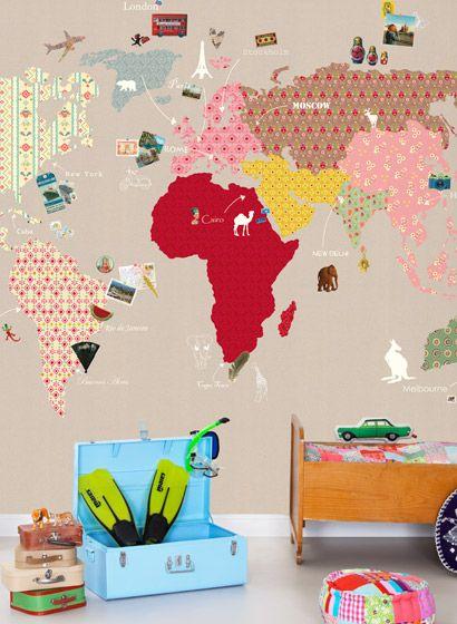 Fabulous  weltkarte nicht nur f r das Kinderzimmer Wandbild whole wide world von Mr Perswall
