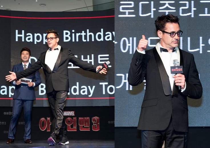 Robert Downey Jr. gives a thumbs up while attending the premiere and red carpet fan event for his film Iron Man 3 on Thursday (April 4) at Time Square in Seoul, South Korea.