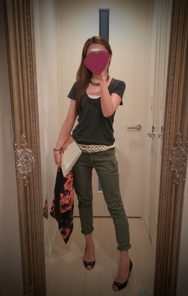 Black tank top with olive green skinny pants + black heels + silver clutch + printed scarf - http://ameblo.jp/nyprtkifml