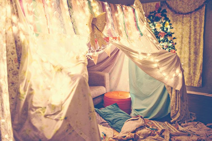 Indie Jane builds a lovely fort in her living room every December. This is where she does her eating, sleeping, and editing until January. It's called Fort Nightdweller. I love it.