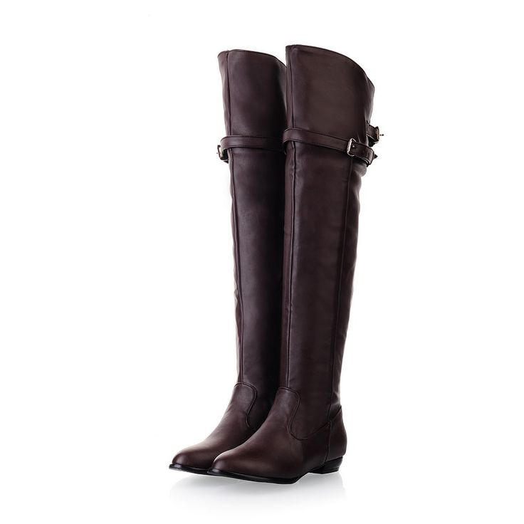 31.00$  Buy here - http://dit6k.justgood.pw/ali/go.php?t=32251793710 - ARMOIRE New Winter Women Over the Knee Thigh High Boots Sweet Black Brown Ladies Shoes A181H Plus Big Size 45 10 11 Warm Fur 31.00$