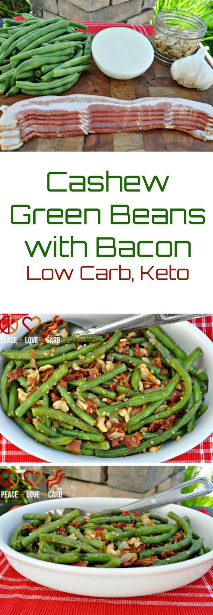 CASHEW GREEN BEANS WITH BACON Green beans and bacon go together like apples and pie. The addition of the cashews, onion and garlic just make it even better. Check out some of my other favorite low carb side dish recipes: Lemon Pepper Green Beans Green Bean Casserole Cheesy Garlic Creamed Spinach Roasted Mushrooms Zucchini and...