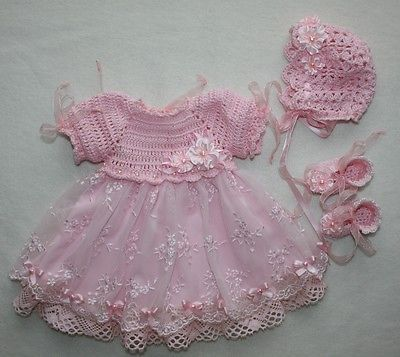 "Handmade vintage crochet set for reborn, ooak baby doll 12""- 13"""