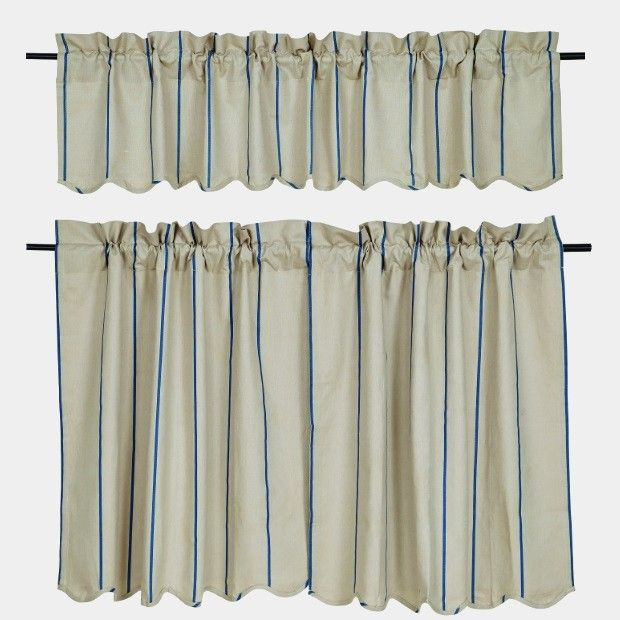striped linen curtain valance and tier curtains - Tier Curtains