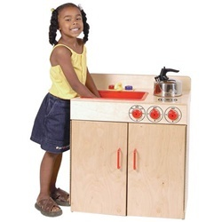Wood Designs Combination Play Sink And Play Stove -  Each play kitchen set is a combination of a two-burner stove top and sink constructed of 100 percent Healthy Kids Plywood with an exclusive Tuff-Gloss UV finish. These wooden kitchen playsets feature Pinch-Me-Not hinges and doors for added safety and working nobs and faucets for a life-like educational experience.  [WD10500]