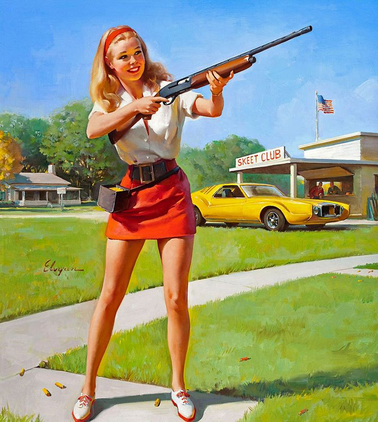 1974  | nice girls have shotguns!  artist: Elvgren