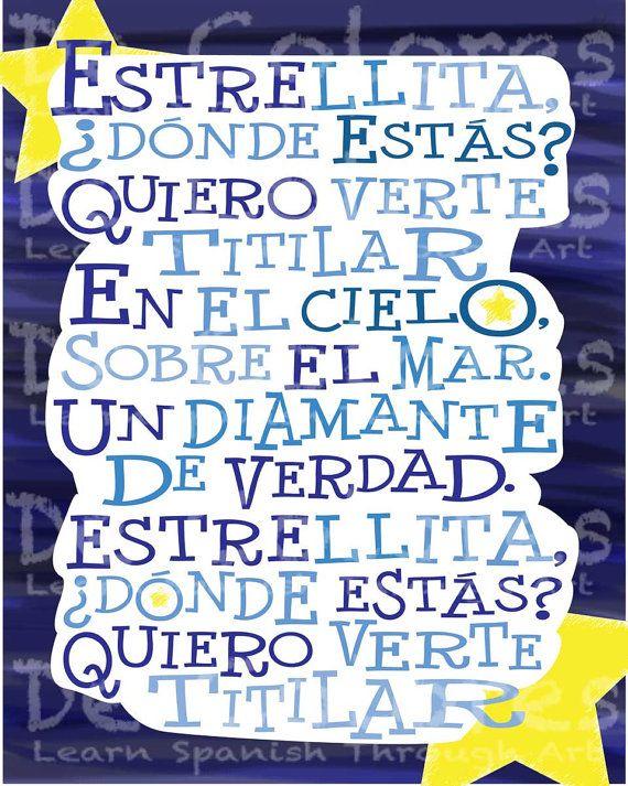 spanish kids iphone ipad Twinkle Twinkle Little Star Wall Decor Twinkle Twinkle Little Star Childrens Wall Art Estrellita Donde Estas