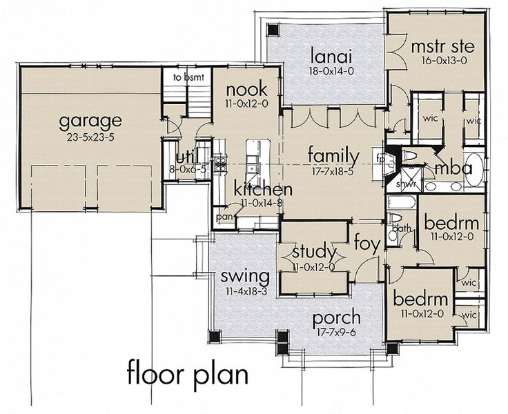 Craftsman Style House Plan - 3 Beds 2 Baths 1879 Sq/Ft Plan #120-187 Floor Plan - Main Floor Plan - Houseplans.com
