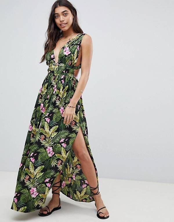 ecb577435cd ASOS DESIGN Grecian Plunge Maxi Woven Beach Dress in Hibiscus Print ...