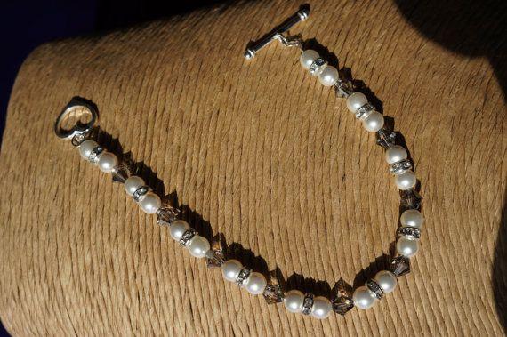 Pearl Bracelet Bridal Jewellery Swarovski by Makewithlovecrafts, £23.25