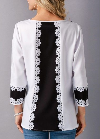 White Three Quarter Sleeve Patchwork Blouse on sale only US$29.69 now, buy cheap White Three Quarter Sleeve Patchwork Blouse at liligal.com
