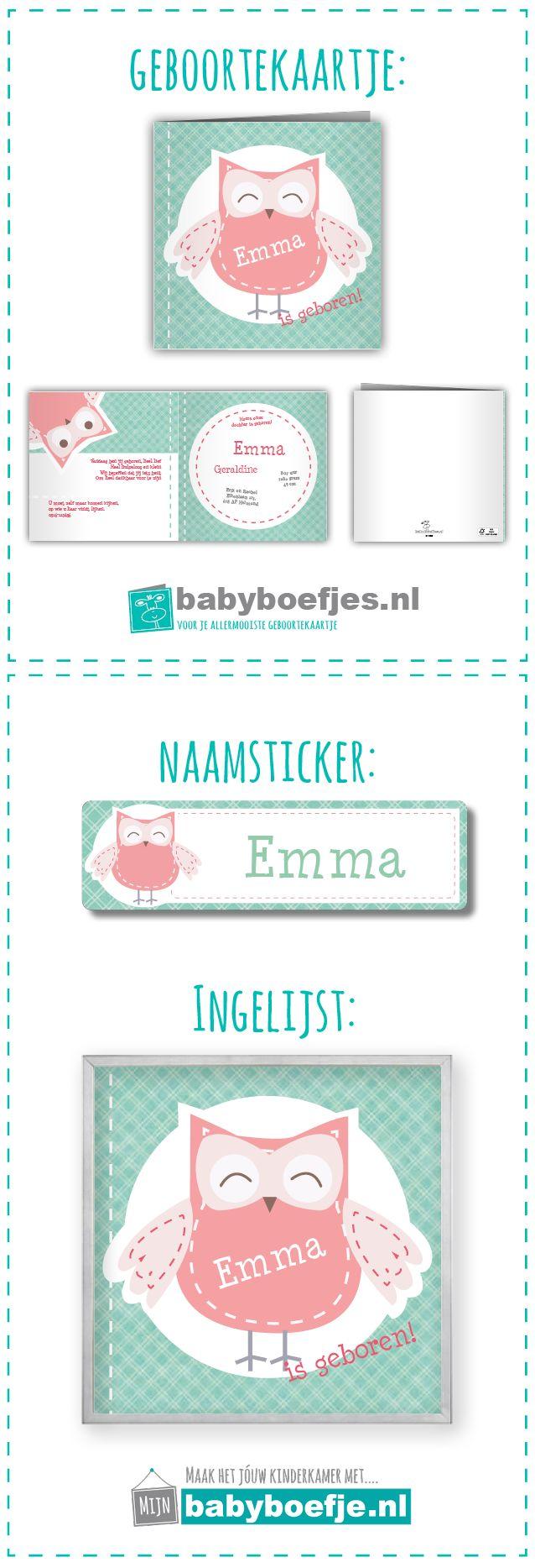 #geboortekaartjes #naamsticker #wanddecoratie #babykamer #meisje #mintgroen #uiltje. In dezelfde stijl als je geboortekaartje bieden wij ook naamstickers en een ingelijst ontwerp aan. Op deze manier kun je in dezelfde stijl je babykamer nog verder opvrolijken. De geboortekaartjes zijn verkrijgbaar op www.babyboefjes.nl. De naamstickers en wanddecoratie op www.mijnbabyboefje.nl