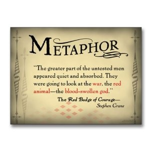 """Literary Tools: Metaphor English Literature Poster featuring a quote from """"The Red Badge of Courage"""" by Stephen Crane. Laminated Educational Art Print"""