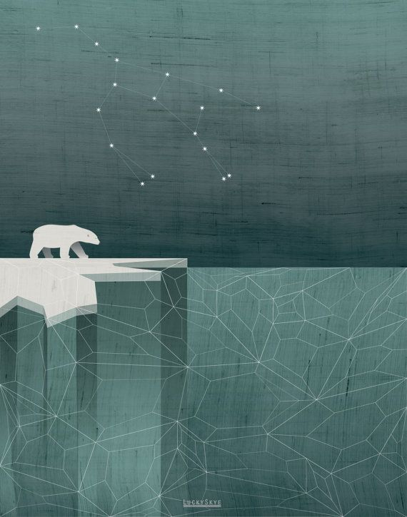 Polar Bear / Ursa Major Constellation Art Print by LuckySkye