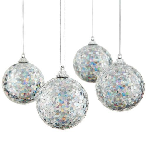4 Sparkly Sequined Glitter Baubles Poundland