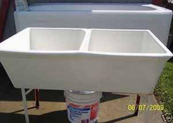 Porcelain Utility Sink Double Bowl 125 Binghamton