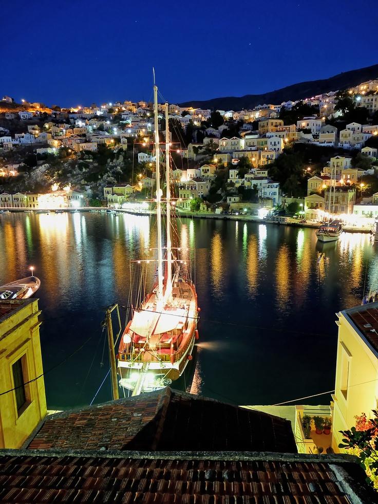 Symi Harbour at Night, #Symi Island, #Greece