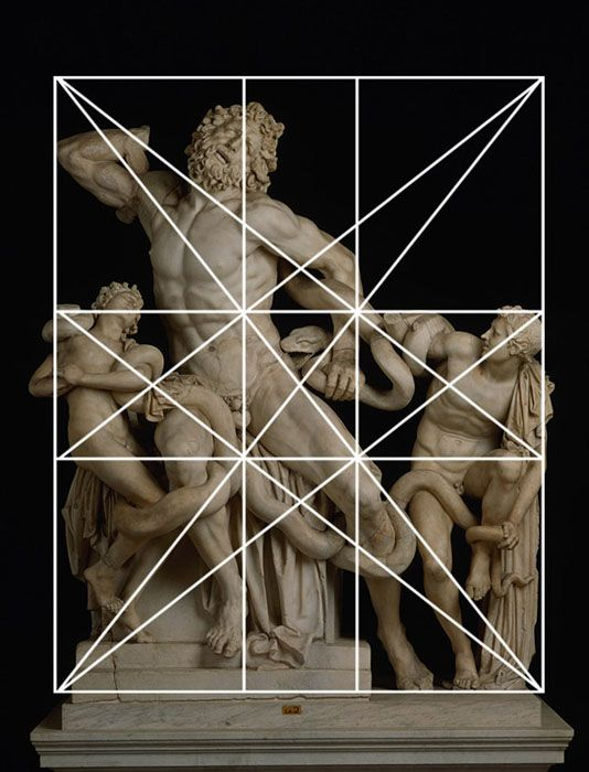 """""""Laocoon & His Sons"""" is a Greek sculpture that was constructed by using Dynamic Symmetry."""