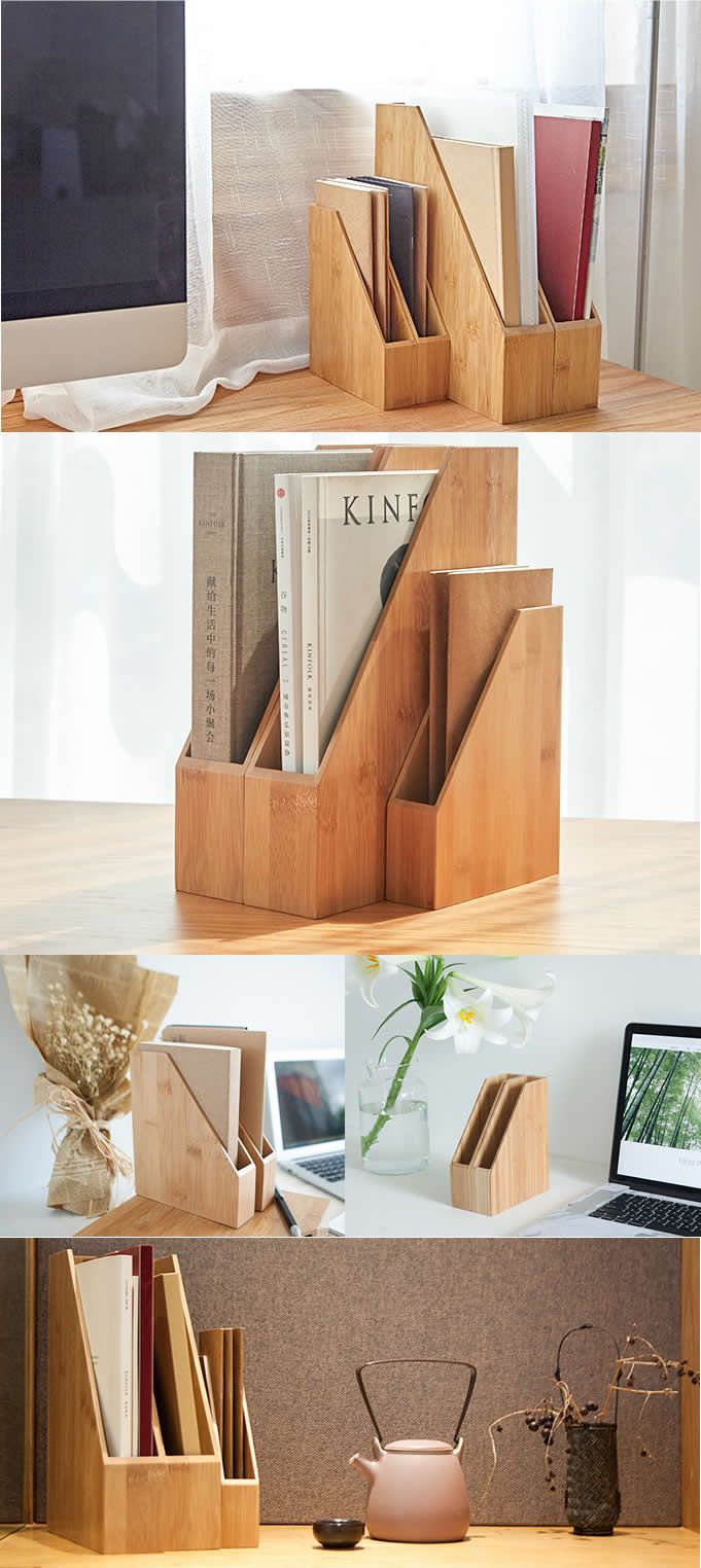 Bamboo Magazine Letter Holder Rack Storage Organizer