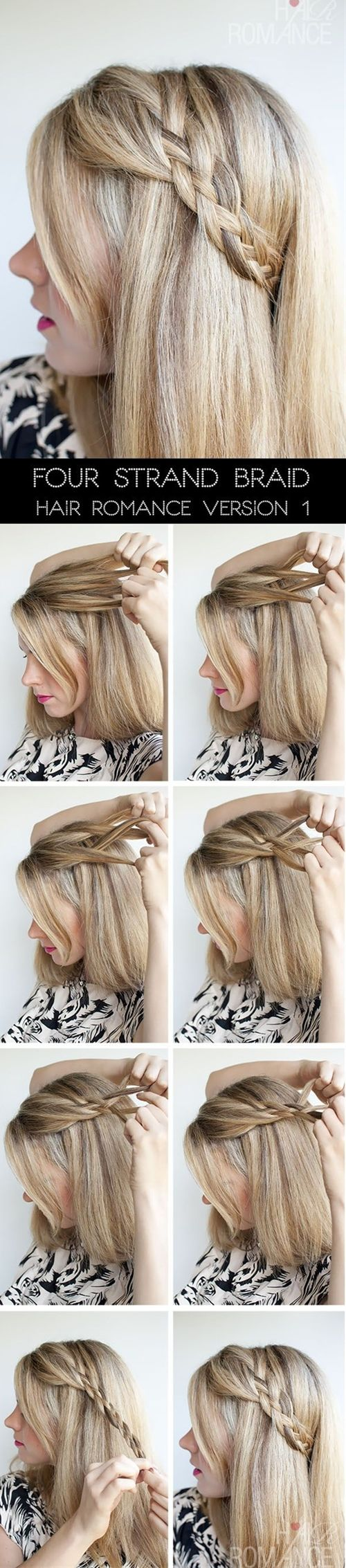 Hair Romance - 4 Strand Braid Tutorial - Click image to find more hair posts