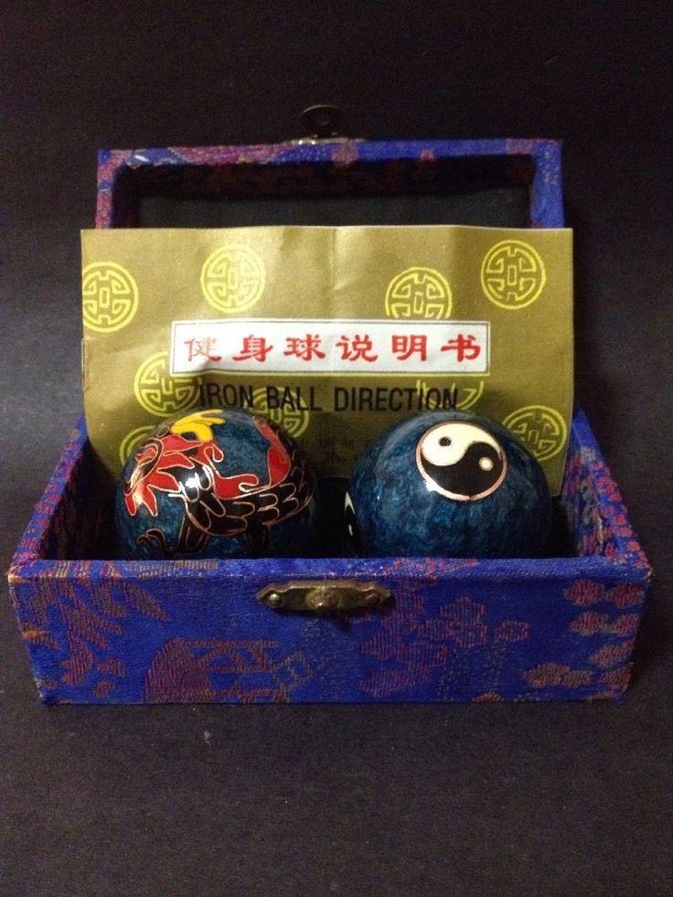 Pre Owned Cloisonne / Enamel Baoding Balls in Box (Ying Yang & Dragon Design)