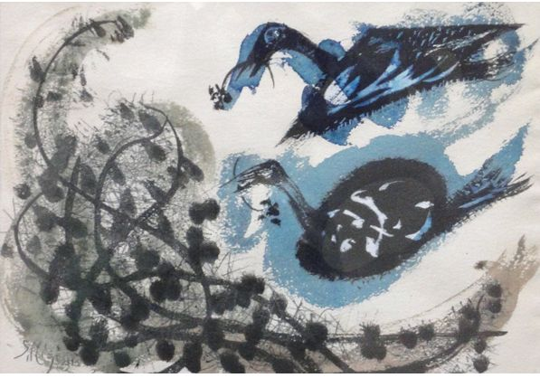 Setsuko Migishi.  No info beyond artist identification.  I like the ducks a lot. Found by Google image search for artist, verified by catalog or gallery ID.  .
