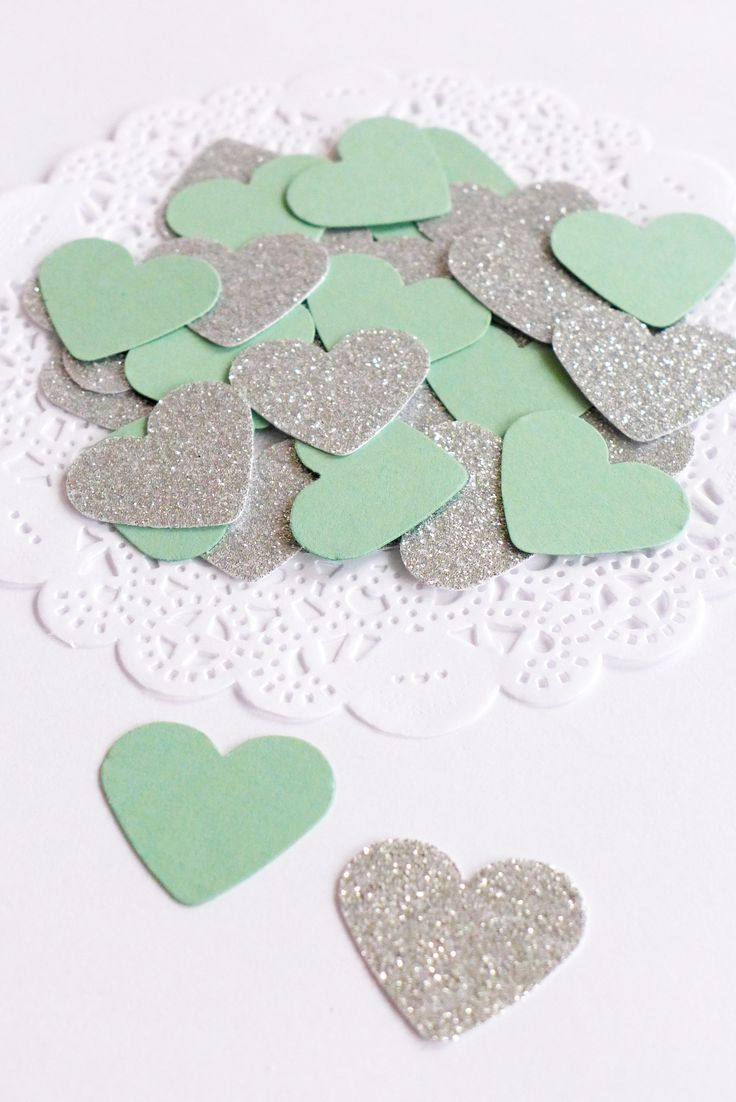 Mint and Silver Heart Confetti