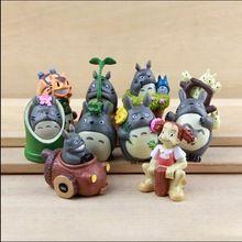 9PCS/Lot Hayao Miyazaki Anime Studio Ghibli Figure Kiki Totoro Ornament Miniature Figurines Jardim Princess Mononoke Totoro Bus