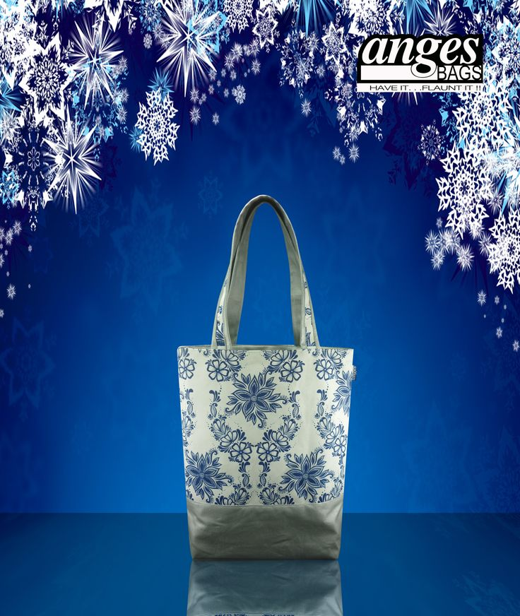 Super chic digital print bag with silver PU accents.