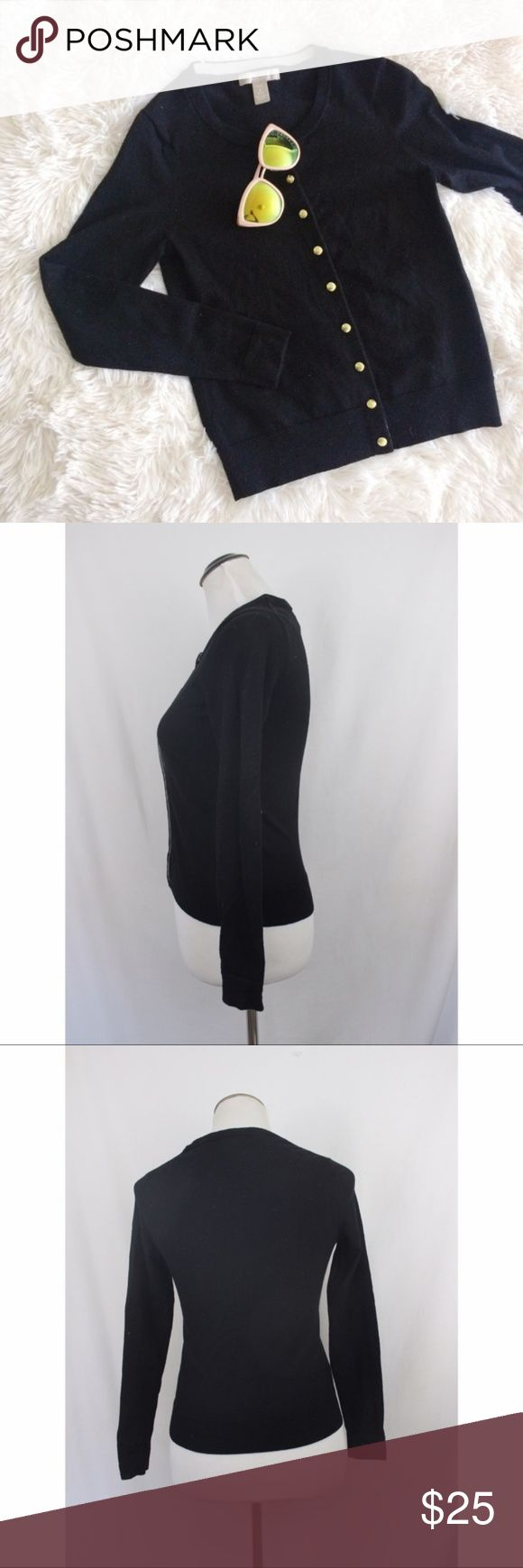 BANANA REPUBLIC black merino wool petite cardigan Brand: Banana Republic Size: SP Condition: excellent condition   Measurements:  Length: 20in Bust: 15in   *petite size *gold buttons *62% merino extra fine wool, 15% nylon, 3% spandex Banana Republic Sweaters Cardigans