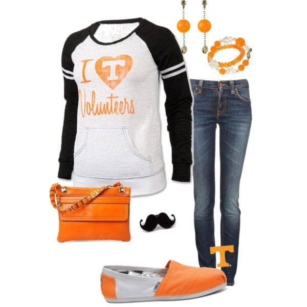 Love love love this outfit stylish but comfy with spirit for vols game @Taylor Greene this reminded me of you lol