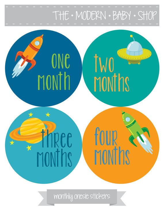 Monthly Baby Onesie Stickers  Rocket Outer Space by TheModernBabyShop, $12.00